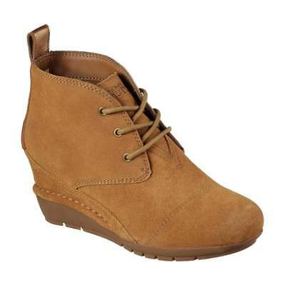 Women's Skechers BOBS High Peaks: Chestnut Suede Lace Up Wedge Ankle Bootie   eBay