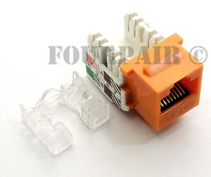 CAT6 Ethernet RJ45 110 Punch Down Keystone Snap-In Jack Orange 10 Pack Lot