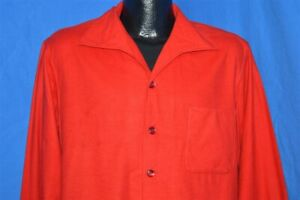 vintage-50s-RED-FLANNEL-COTTON-HUNTING-MEN-039-S-BUTTON-DOWN-SHIRT-HOMEMADE-LARGE-L