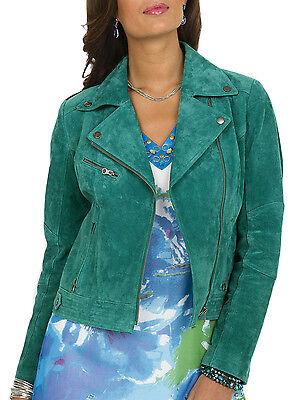 Ladies UK Size 22-24 Biker Style Jacket Women Suede Leather in Green