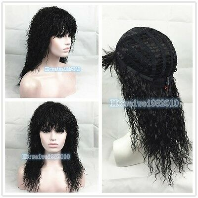 African American Style Natural fluffy long black wavy hair wig Free shipping