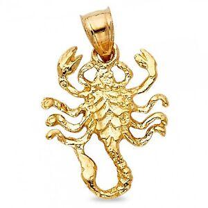 Solid 14k yellow gold scorpion charm zodiac sign scorpio pendant image is loading solid 14k yellow gold scorpion charm zodiac sign aloadofball Images