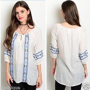 BOHO-Embroidered-Kaftan-Top-Rayon-Blouse-Plus-Size-12-14-16-18-20-22-Tunic-White