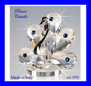 Pavone-mignon-in-Cristallo-4-5-cm-Swarovski-Regalo-Bomboniere-Made-in-Italy