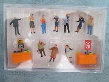 Preiser HO #10647 Bargain Bin Shoppers -- 2 Men, 8 Women, 2 Shopping Bins w/Sign