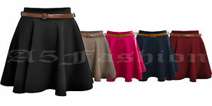 LADIES-WOMENS-BELTED-SKATER-FLARED-JERSEY-PARTY-DRESS-PLAIN-MINI-SKIRT-8-14