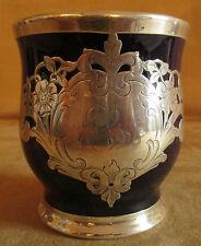 ancienne tasse à barbe en porcelaine et argent incrusté Angleterre? fin XIX ème