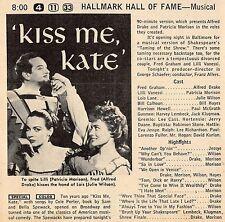 "1958 TV AD~ALFRED DRAKE~PATRICIA MORISON~JULIE WILSON in ""KISS ME KATE"" MUSICAL"
