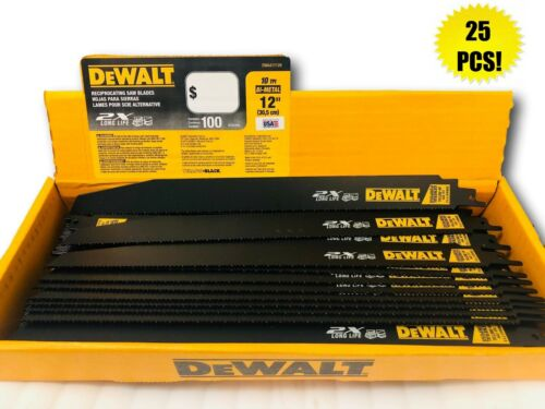 """QTY 25 DEWALT 12/"""" RECIPROCATING SAWZALL SAW BLADES 10TPI BI METAL DWA41712B"""