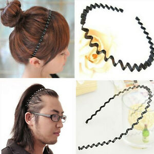 Unisex Women Men Hippie Wavy Zigzag Sport Metallic Hair Band Head ... 022e6fcbfc1
