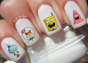 Image Is Loading Spongebob Nail Art Stickers Transfers Decals Set Of