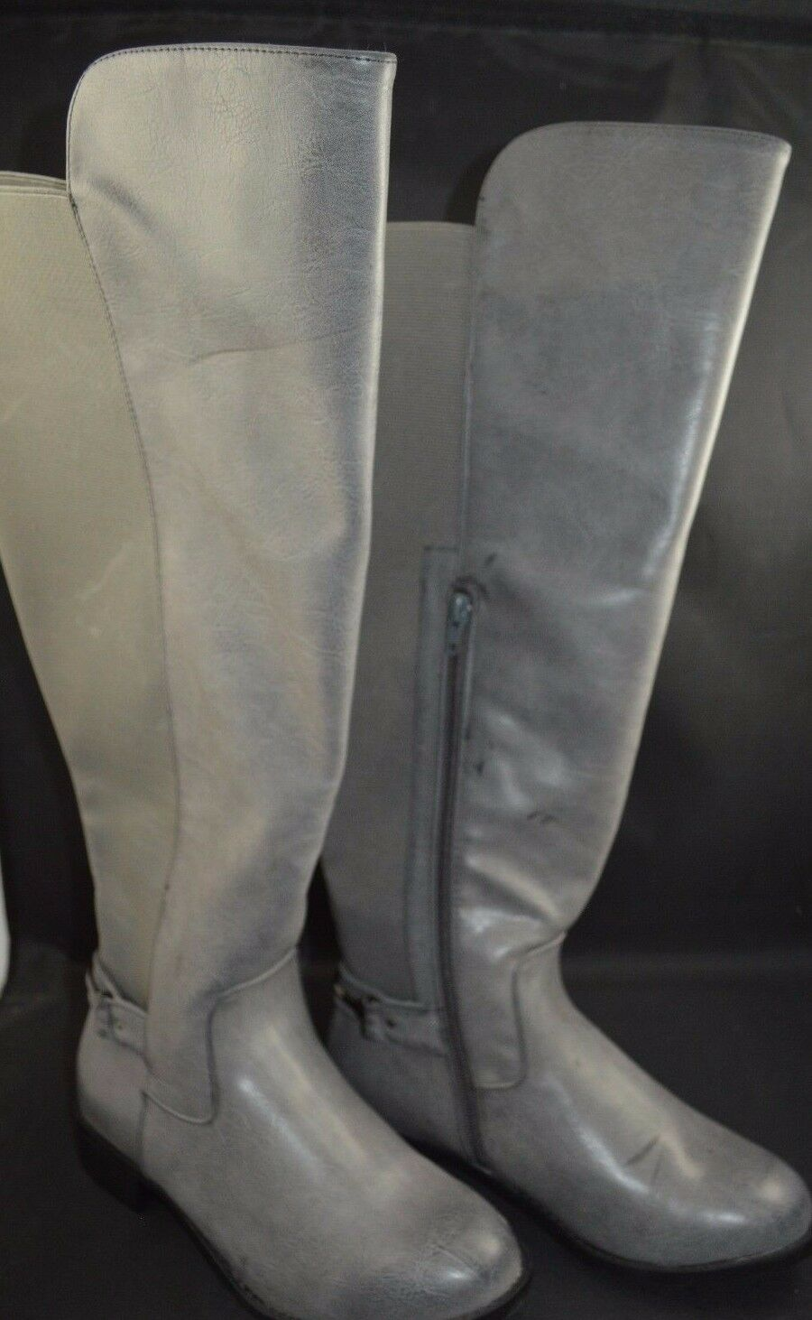 Torrid Metal Heel Strap Knee Boots Wide Width & Wide calf Grey 7  85084
