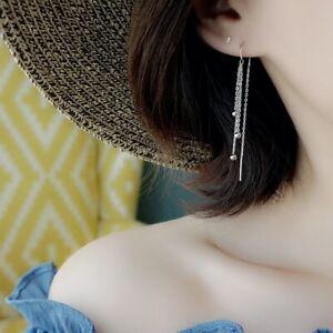 Damen-U-Ohrhaenger-Durchzieher-Tropfen-Sterling-Silber-925-lange-Ohrringe