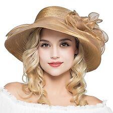 HH HOFNEN Kentucky Derby Sun Hats for Women Wide Brim Beach UPF Protection Cap