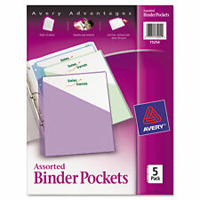 Avery Binder Pockets 3 Hole Punched 9 14 X 11 Assorted Colors 5pack 75254