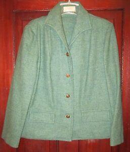 Pendleton-14-M-Vintage-Jacket-Blazer-100-Wool-Button-Green-Tweed-Classic-Coat