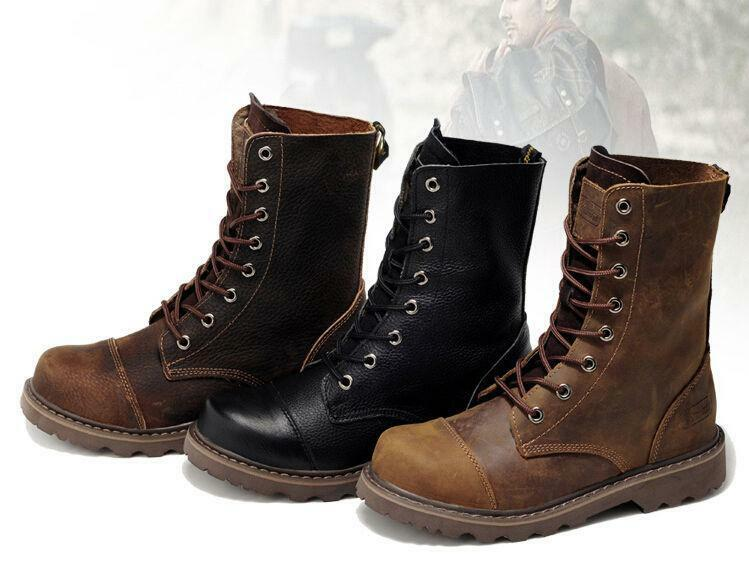 Uomo lace up genuine Pelle Combat Ankle Cowboy Military Army Biker Stivali Shoes
