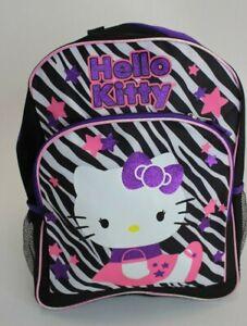 "Hello Kitty Zebra Striped Black 16"" Large Backpack"