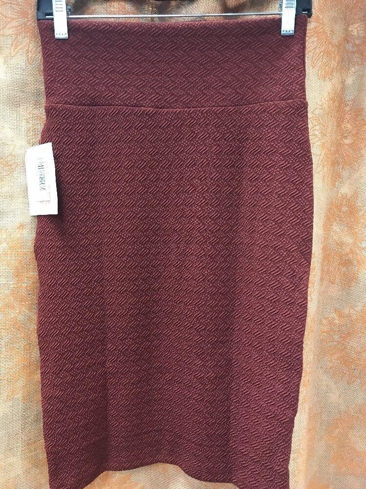 NWT LULAROE Cassie Skirt sz XSmall Maroon Purple Cute Textured Stretch Pencil