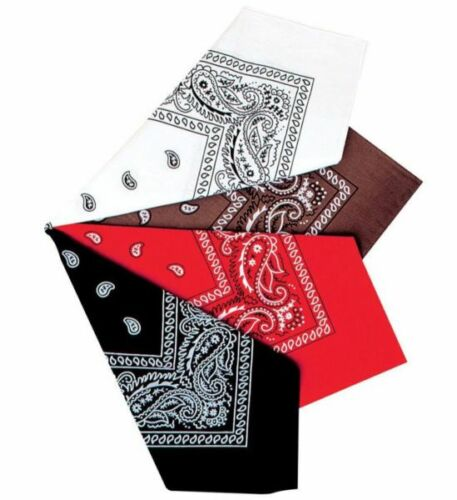 Bandana Cowboy Western Rosso Nero Marrone Bianco Cravatta Cappello Sciarpa Paisley Indiano