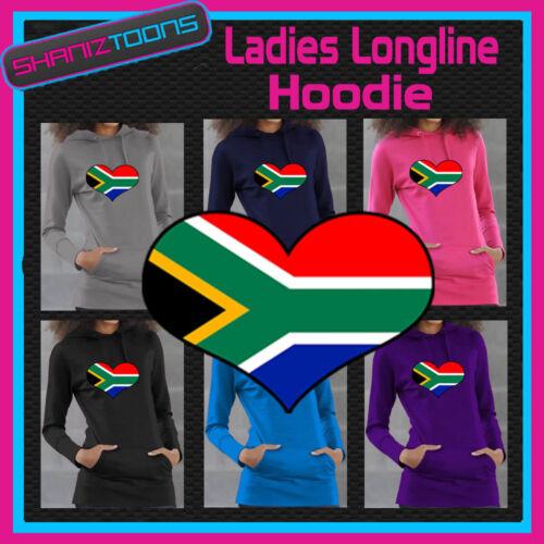 SOUTH AFRICA FLAG LOVE HEART LADIES LONGLINE HOODIE HOODY