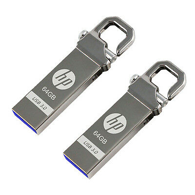 Lot of 2 HP 64GB x750w USB 3.0 Flash Pen Drive Memory Stick Key Thumb (=128GB)