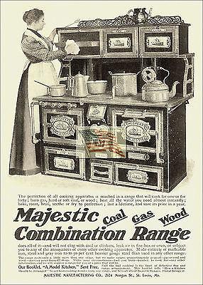 REPRINT PICTURE FARMHOUSE ad MAJESTIC COMBINATION RANGE COAL GAS WOOD 1899 5x7