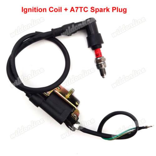 Ignition Coil A7TC Spark Plug For ATV Quad 50cc 70cc 90cc 110cc 125cc Pit  Bike