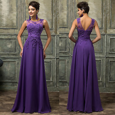 GRAD Long Chiffon Bridesmaid Evening Party Wedding Ball Gown Cocktail Prom Dress