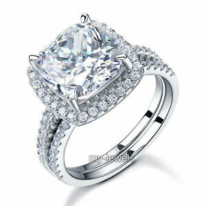 925 Sterling Silver Wedding Engagement Ring Set 5 Carat Created