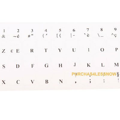 2 x FRENCH KEYBOARD STICKERS TRANSPARENT Letters Anti reflection coating WHITE