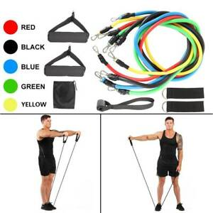 RESISTANCE-BANDS-HEAVY-WORKOUT-EXERCISE-YOGA-11-PIECE-SET-CROSSFIT-FITNESS-TUBES