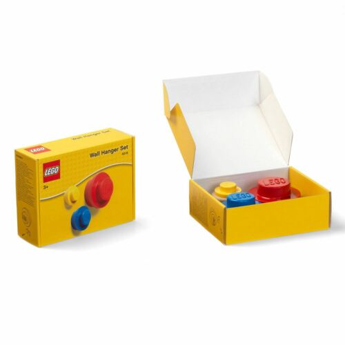 LEGO 3 PIECE WALL HANGER SET RED BLUE /& YELLOW