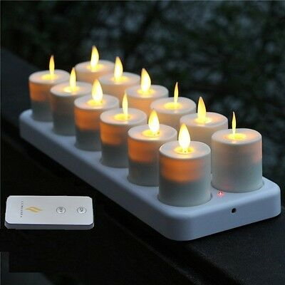 Luminara 12 Flameless Moving Wick Flickering Rechargeable Tea Light Candles Set