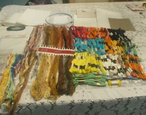 Huge-Mixed-Lot-Counted-Cross-Stitch-Supplies-Floss-Aida-Hoop-New-amp-From-Kits