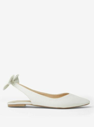 Ex Dorothy Perkins White Pearl Sandal with Bowtie Back Size 3-9