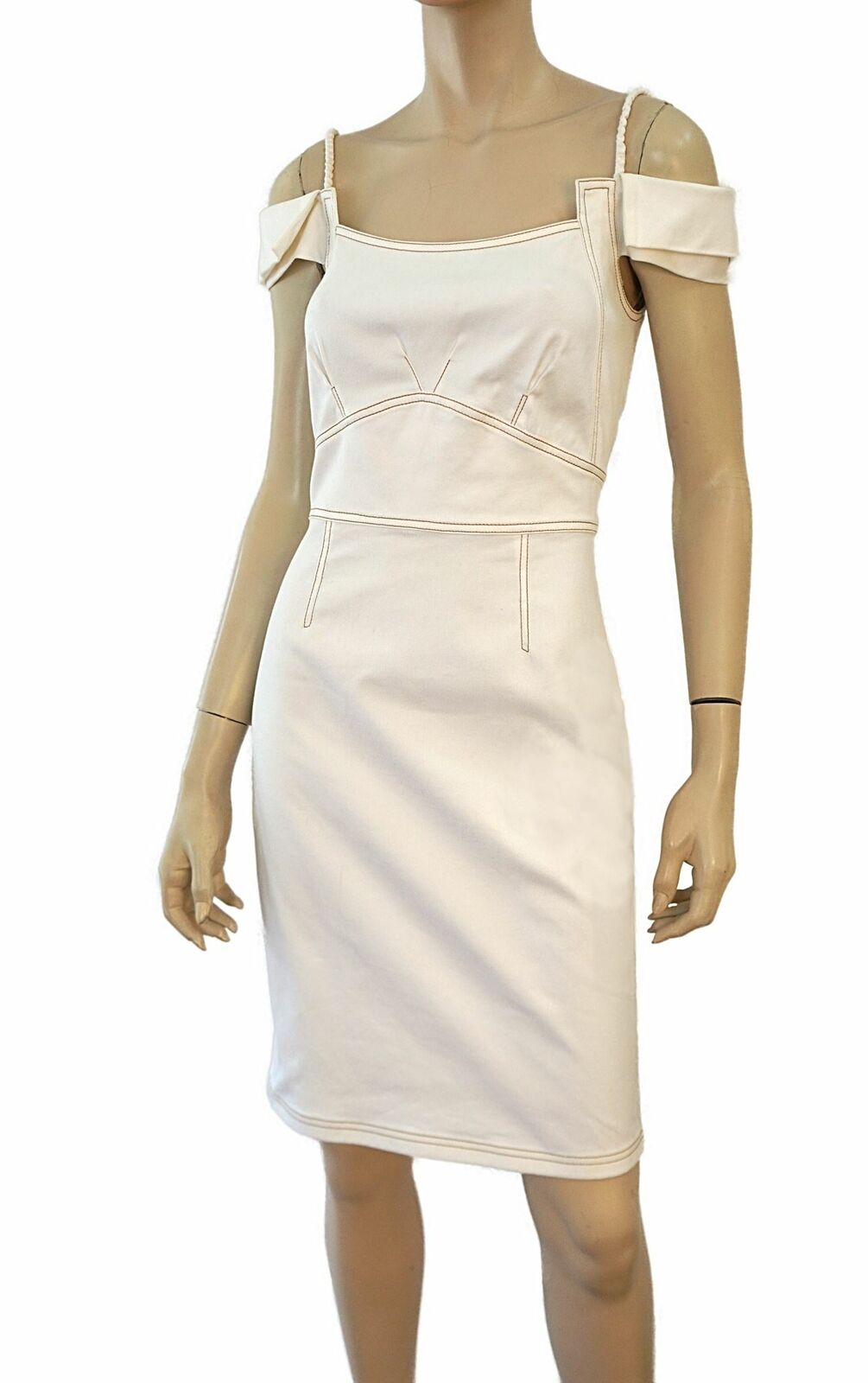 ZAC POSEN blancoo  Stretch Denim Vestido Tubo del hombro 6  muy popular