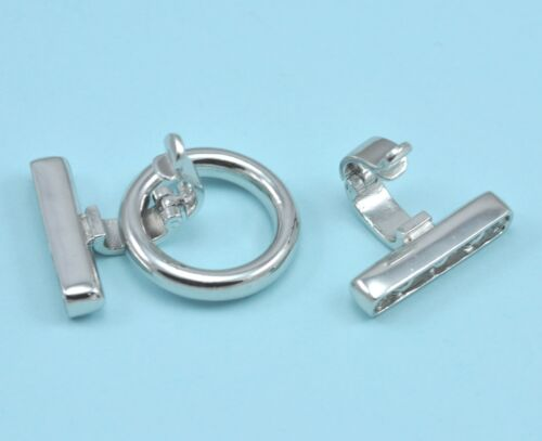 Platinum Plated Silver Tone Ring 3-strand Heavy Duty Strong Clip /& Lock Clasp