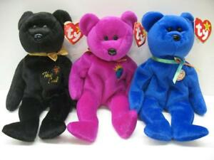 LOT of (3) TY RETIRED Original Beanie Baby Clubby The End Millennium ... 058cb3865a1