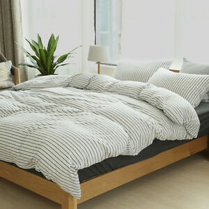 Image Is Loading Black Striped Cotton Jersey Quilt Cover Ed Sheet