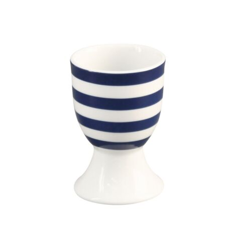 Krasilnikoff Eierbecher STREIFEN Dunkelblau Porzellan blau weiß gestreift