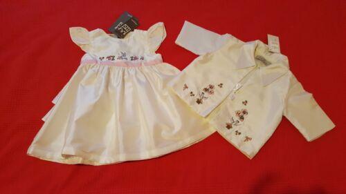 BNWT Baby Girls Ivory Silk  Ruffle Dress and optional Matching Matinee Jacket