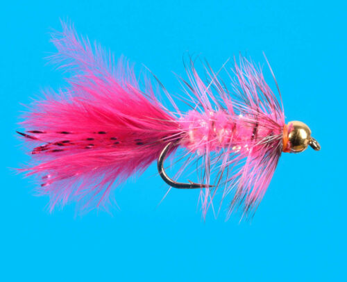 Cherise 6 pcs Fluo size 14 Bead Head Mini Sparkle Bugger
