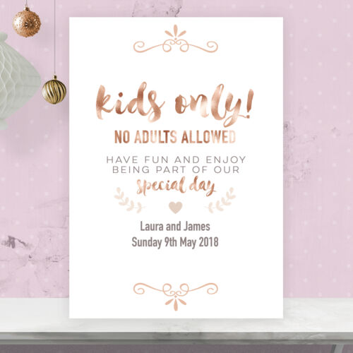 Personalised Wedding Kids Only Table Sign Rose Gold Effect /& Peach RG21