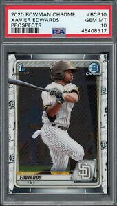 Xavier Edwards 2020 Bowman Chrome Rookie Baseball Card #BCP10 PSA 10 GEM MINT