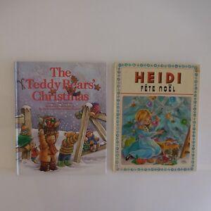 2-Libros-Vintage-Heidi-Fiesta-Papa-Noel-1974-The-Teddy-Bear-S-Christmas-1998