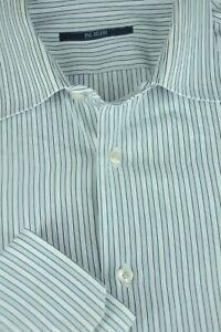 05d2942866 Pal Zileri Men s Gray White   Blue Striped Soft Cotton Casual Shirt ...