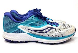 Saucony Ride 10 Running Shoes Gray Blue Women Size 8.5 NS23