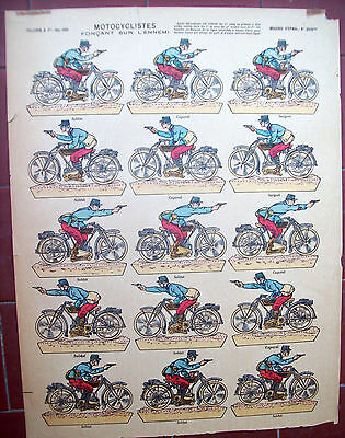 Collectibles 1915 Battalion Bikers 'imagerie D' Epinal ' Sheet With Figures You Can Crop Hot Sale 50-70% OFF