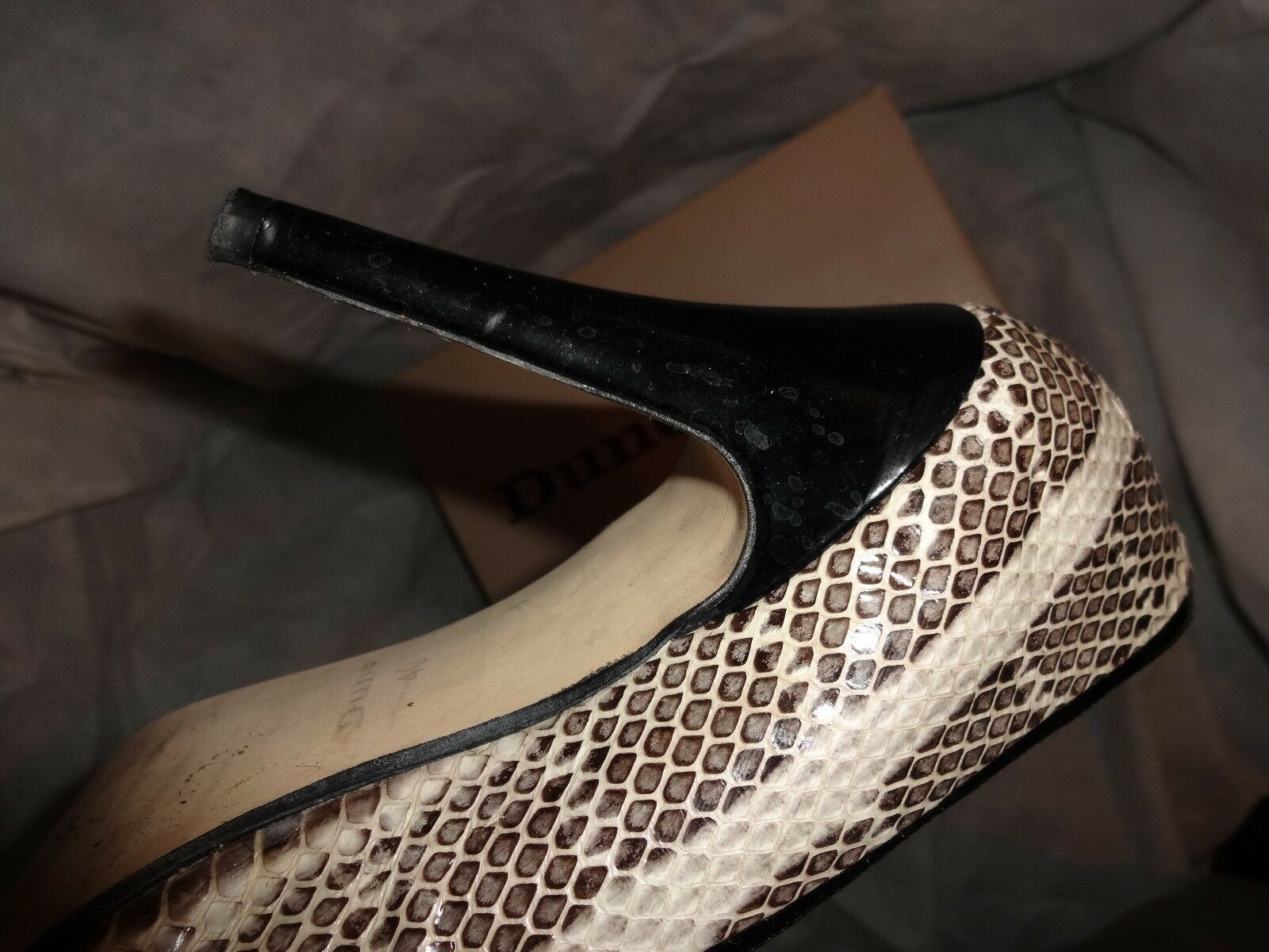 DUNE WOMEN'S SNAKEPRINT/BLACK   SLIP ON HEEL SHOE   SIZE UK 7 EU 40  VGC 6648d3
